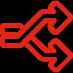 Icon von zwei sich überlappenden Pfeilen