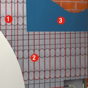Grafik einer eingebauten Wandheizung von Actifloor im Nasssystem
