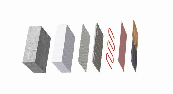 Grafik der Teile, aus denen sich die Actifloor Fußbodenheizung zusammensetzt