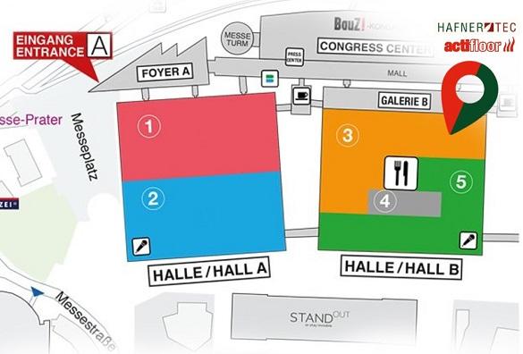 Foto des Lageplans des Messegeländes der Messe Bauen und Energie in Wien