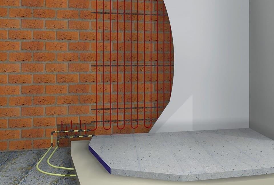 Grafik der Eingebauten Wandheizung von Actifloor mit Klemmschienen