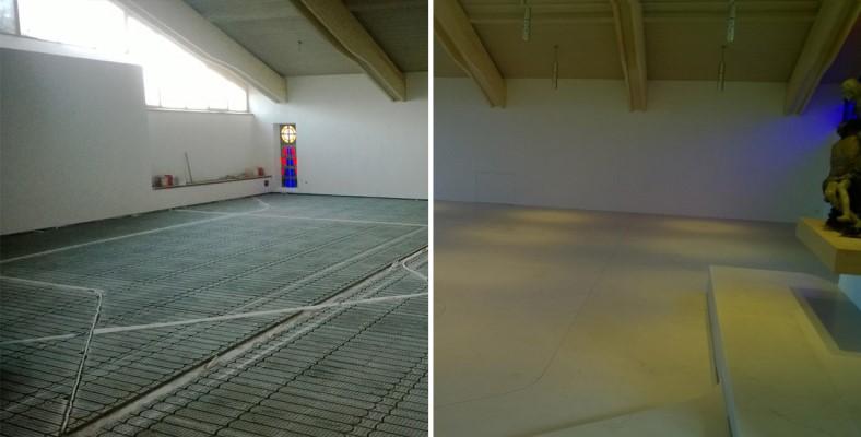 Foto der Actifloor Fußbodenheizung während der Verlegungsarbeiten in einer Kirche und Foto des Endergebnisses
